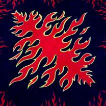 Red Flames Patterned Black Bandana