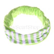 Headwrap With Bright Green Stripes