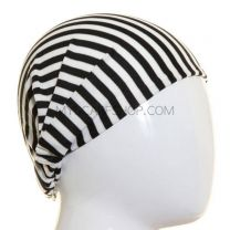 Headwrap Black and White Stripes