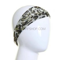 Print Wide Headband Khaki Glitter Abstract
