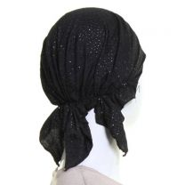 Headwrap Black with Silver Glitter