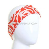 Wide Headband Bright Red Abstract Rose