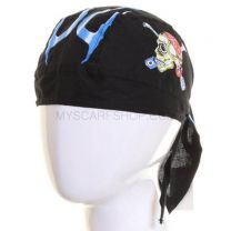 Cotton Zandana Black Skull Print