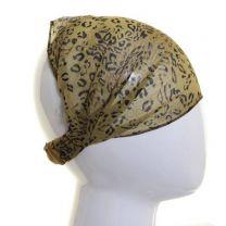 Chiffon Headwrap Green Leopard Print