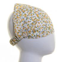 Headwrap Yellow Small Flowers Cotton