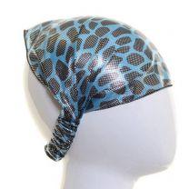 Headwrap Blue Metallic Animal Print