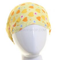 Yellow Hearts Cotton Headwrap
