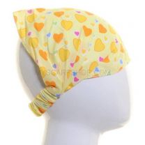 Cotton Headwrap Yellow Hearts