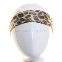 Silver Metallic Headwrap Animal Print