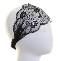 Floral Design - Black Lace Wide Headband