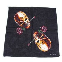 Skull and Rose Bandana - Black and Red