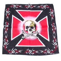 Red and Black Skull & Maltese Cross bandana
