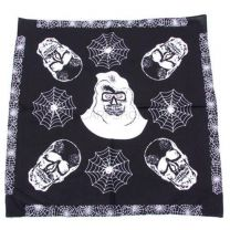 Black and White Skull & Spiderwebs Bandana