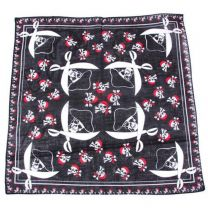 Black White and Red Pirate Skulls With Swords Cotton Bandana