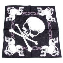 Black and White Triple Skulls Printed Bandana