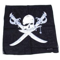 Black and White Skull with Swords Bandana