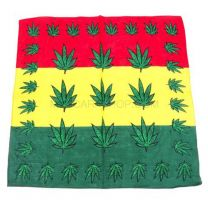 Multicoloured Striped Marijuana Leaves Bandana