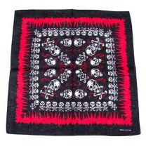 Back and Red Skull Print Bandana
