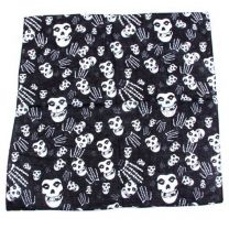 Black and White Printed Skull and Hands Bandana