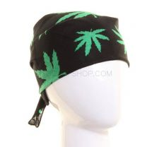 Black & Green Marijuana Leaves Bandana