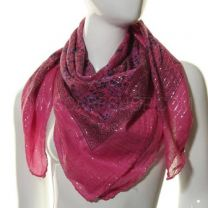 Pink Lurex Square Paisley Cotton Scarf