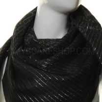 Black Lurex Square Paisley Cotton Scarf