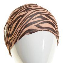 Printed Chiffon Headband Brown & Peach Zebra