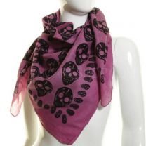 Pink Skull Print Square Cotton Scarf