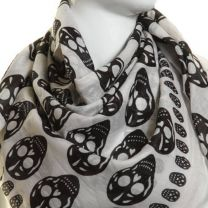 White Skull Print Square Cotton Scarf