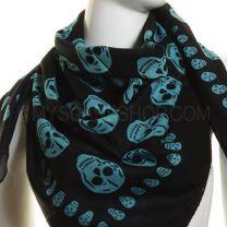 Turquoise Skulls Square Cotton Scarf