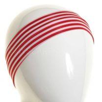 White & Red Stripes Slim Headband