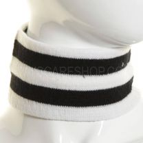Black and White Striped Knitted Wide Headband