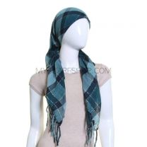 Green Lurex Square Check Scarf