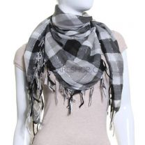 Black & Grey Lurex Square Check Scarf