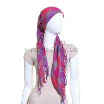 Pink & Purple Square Check Lurex Scarf