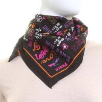 Colourful Multi Slogan Cotton Black Bandana