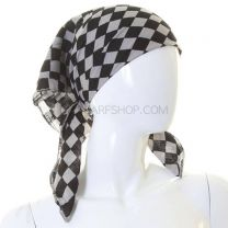 Grey Checkered Cotton Bandana