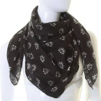 Black Hemp Leaves Square Cotton Scarf