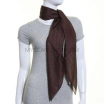 Brown Square Silk Scarf Large