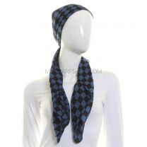 Blue Checkered Square Scarf Cotton