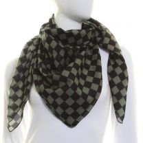 Grey Pure Square Cotton Check Scarf
