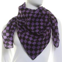 Purple Checkered Squared Scarf Cotton