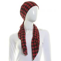 Red Checkered Square Scarf Cotton