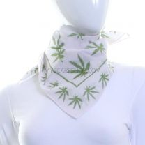 Multi Hemp Leaf White Cotton Bandana