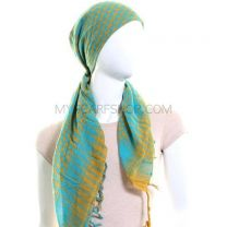 Yellow and Turquoise (Shemagh) Arab Scarf