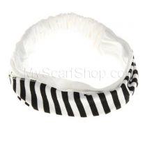 Headwrap White Stripes Cotton