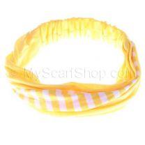 Headwrap Yellow Stripes Cotton